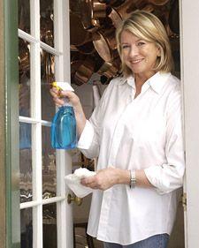 1 part vinegar / 1 part hot water in a spray bottle... Washing Windows - Martha Stewart Home & Garden