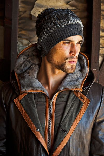 leather (?) trim parka, and great hat!
