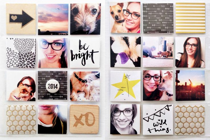 PL14 - Title Page Album Two by tracyxo at @Studio_Calico I LOVE LOVE LOVE how Tracy used all 2x2 squares for this PL spread. All the selfies are so adorable!