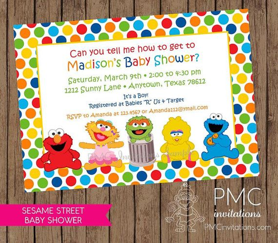 Sesame Street Baby Shower | Sesame Street Baby Shower Invitations   1.00  Each With Envelope