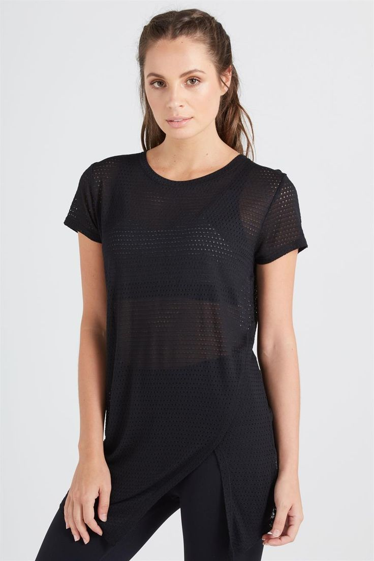A breathable workout tee that's cool in more ways than one! Loose, relaxed fit, mesh fabric and a stylish asymmetrical hem. The extra length has got you covered while you skip, sprint and starjump!<br /><br /> • Extra length to cover the bum<br /> • Comfortable relaxed fit<br /> • Capped sleeve t-shirt<br /> • Rounded neckline<br /> • Asymmetrical hem line <br /> • Mesh garment enhances breathability <br /...