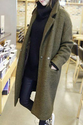 Trendy Long Sleeves Turn-Down Collar Worsted Coat For Women