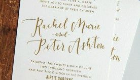 Rachel + Peter's Gold Foil and Calligraphy Wedding Invitations