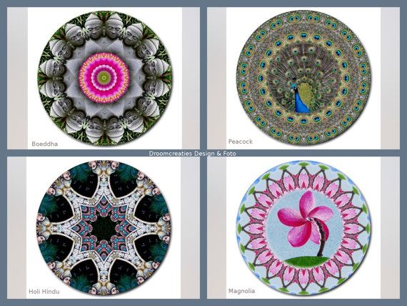 Mousepad mandala design- choose your favorite design: Boeddha - Peacock - Holi Hindu - Magnolia  This mousepad brings colour in your home,