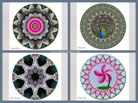 Mousepad mandala design- choose your favorite design: Boeddha - Peacock - Holi Hindu - Magnolia  This mousepad brings colour in your home,