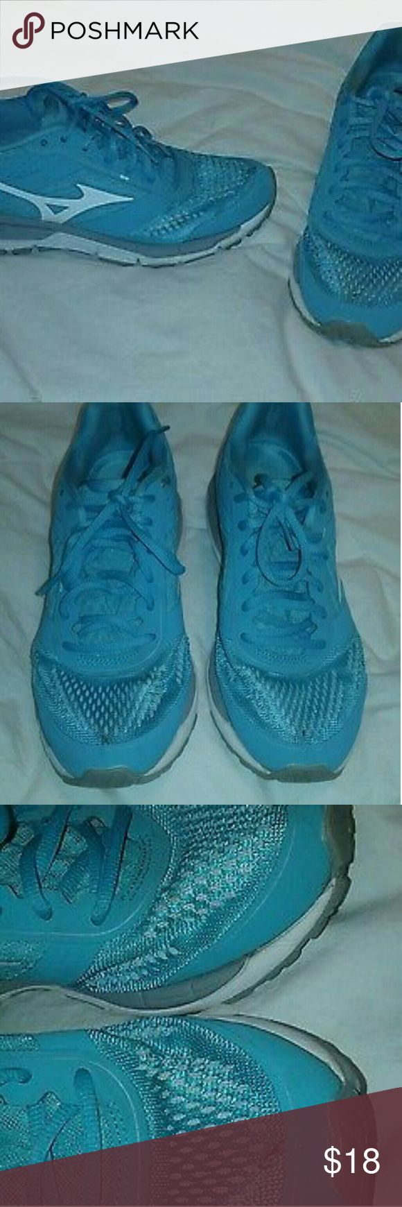 Mizuno Sneakers Aqua Blue Athletic Womens 8.5 Mizuno Sneakers Aqua Blue Athletic Womens Shoes Size 8.5  Pre-owned pair, in fair condition.  Some wear and marks pictured, but still plenty of life left.  Great color! Mizuno Shoes Athletic Shoes