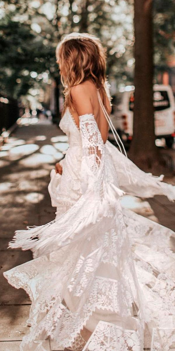 36 Boho Wedding Dresses Of Your Dream ❤ boho wedding dresses hippie lace flowy with detached sleeves rue de seine bridal ❤ See more: http://www.weddingforward.com/boho-wedding-dresses/ #weddingforward #wedding #bride