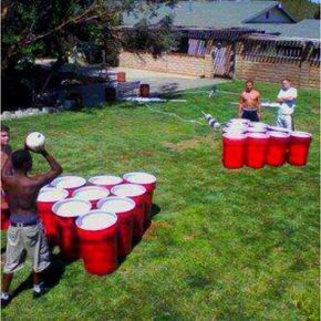 Giant  family Pong. painted trash cans... This would be SO fun for summer , this can be a NON alcohol family picnic game with prizes !