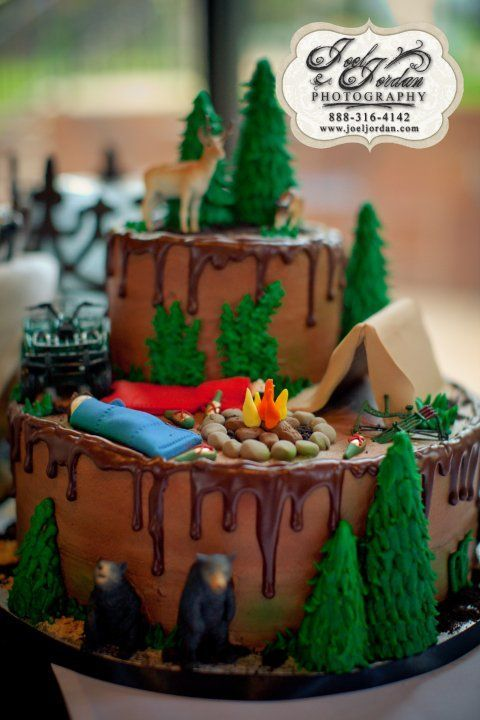 camping grooms cake  @Amanda Snelson Snelson Benguerel ideas for cake,,, this one has too much detail but cute ideas