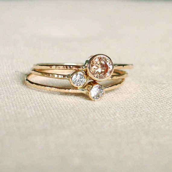Choose Three Stones for your Sparkling Threads of Gold - Set of Three Tiny Stack Rings with 14k Gold Set Faceted Stones - Delicate