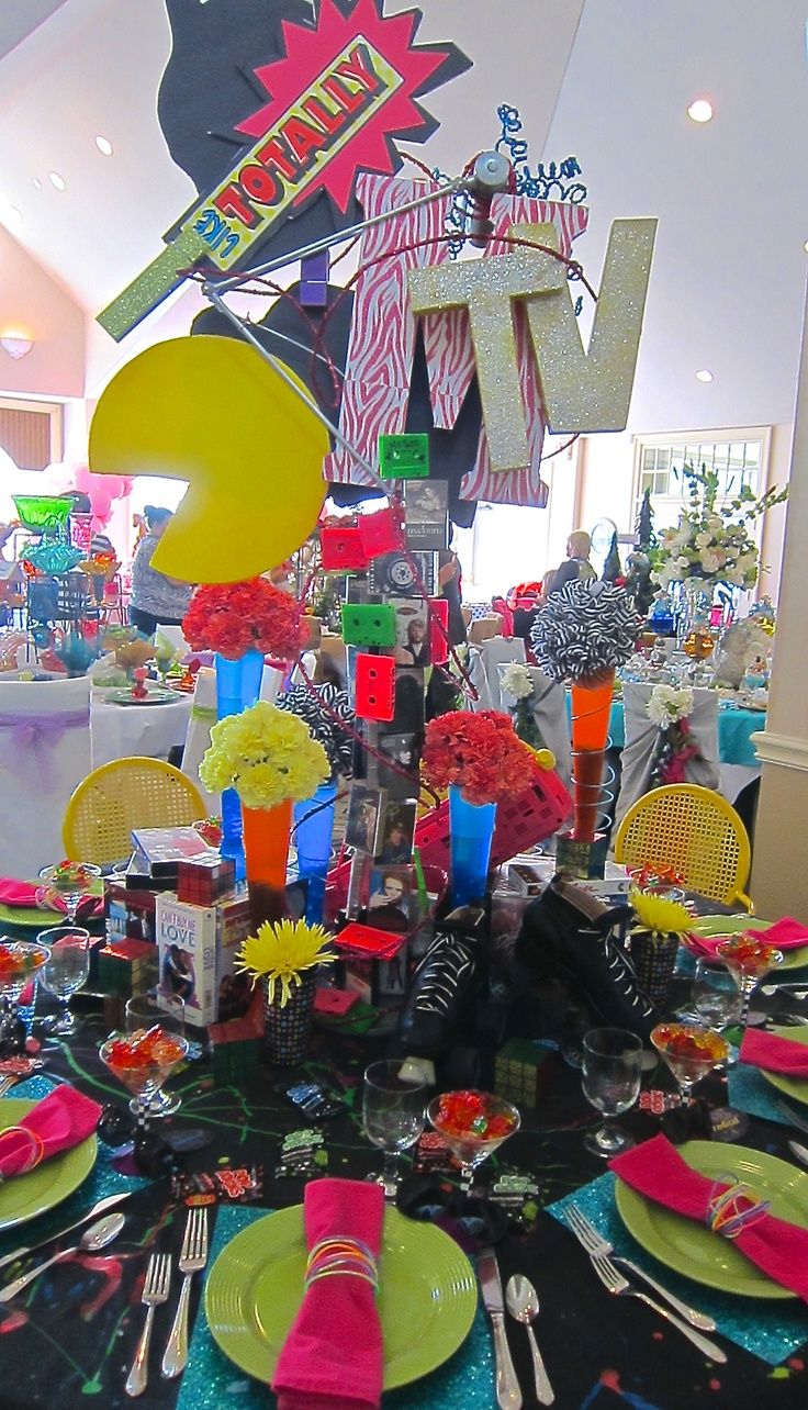 80s inspired centerpiece... A Floral Touch