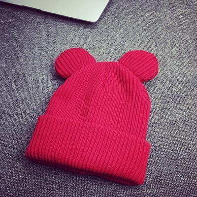 1piece Hat Female Winter Caps Hats For Women Devil Horns Ear Cute Crochet Braided Knit Beanies Hat Warm Cap Hat Bonnet Homme Gorro