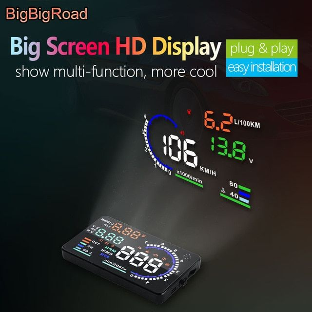 "M6 HUD 3.5/"" OBD II 2 Speed Warning Gauge Fuel Consumption For Mazda 2 3"