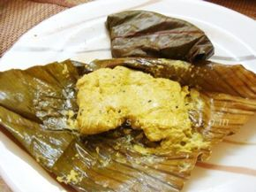 ...poila baisakh special recipes... ...Bhetki paturi or mustard seasoned bekti wrapped in plantain leaves... Bhetki macher paturi meaning fish seasoned with spices wrapped in banana leaves and then...