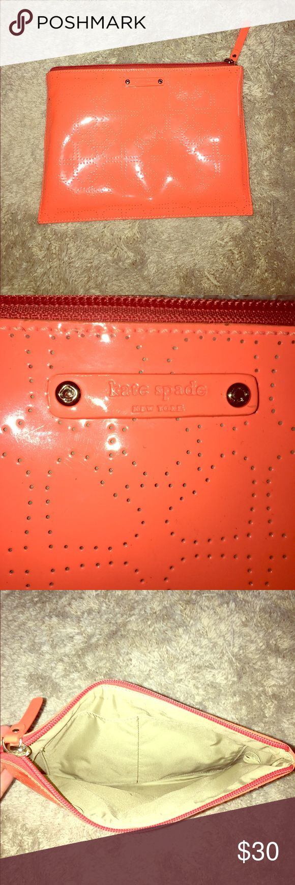 Kate Spade Orange Statement Clutch Orange Clutch from Kate Spade, perfect for a statement piece for a night out! Perfect size to fit a phone, lipsticks, mints, and anything else needed for night out! Great condition! kate spade Bags Clutches & Wristlets