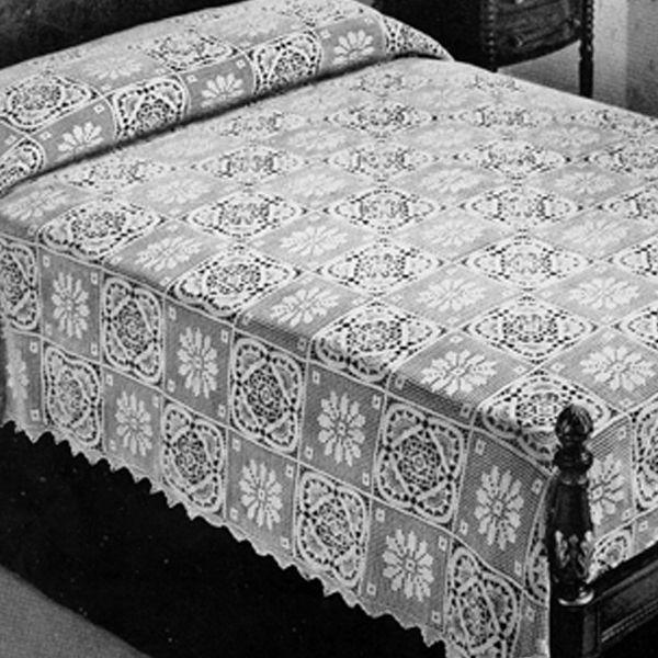 Flower Block Filet Crochet Bedspread Pattern Vintage