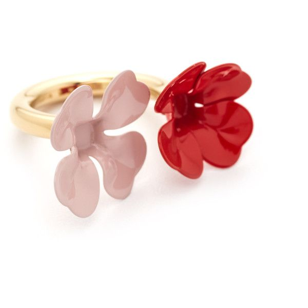 Marni Ring with Metal Flower found on Polyvore featuring jewelry, rings, red, flower rings, blossom ring, polish jewelry, flower jewellery and metal jewellery
