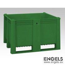 Hygiene palletbox, 1200x1000x740 mm, 630 liter, met 2 sleden, groen