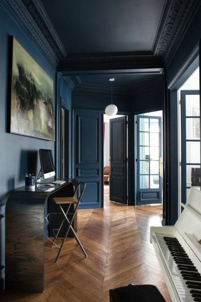 1001 id es pour am nager une chambre en longueur des solutions petits espaces murs bleu - Chambre en longueur ...