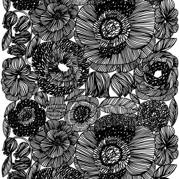 Kurjenpolvi print represents the exuberance of flowers on large scale captured byAino-Maija Metsola for Marimekko.