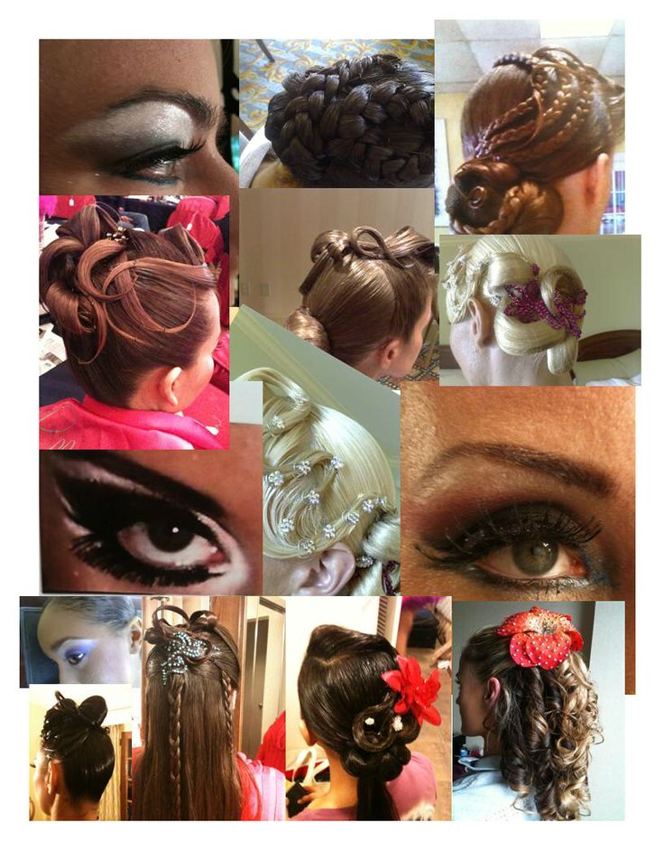 Collage of hair and makeup ideas for the foxtrot