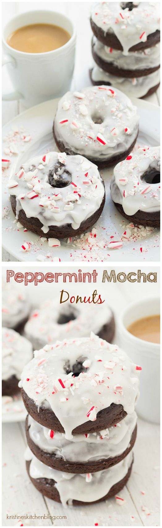 Peppermint Mocha Donuts. Healthier baked donuts with chocolate, coffee, and peppermint!   Kristine's Kitchen