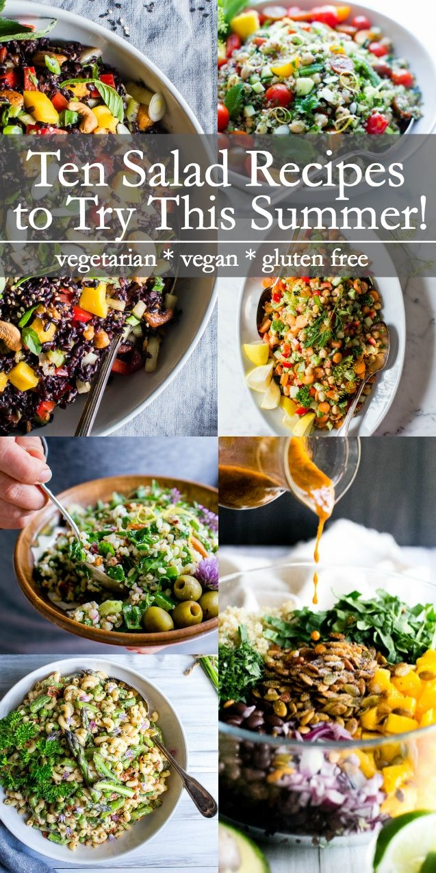 Ten Salad Recipes To Try This Summer Summersalads Vegetarian Healthyrecipes Plantbased Glutenfree