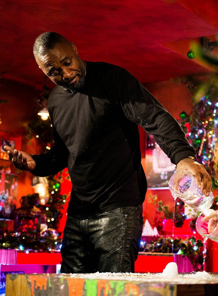 """Idris Elba during a live broadcast of """"TFI Friday"""" at Cochrane Theatre on December 11, 2015 in London, England"""