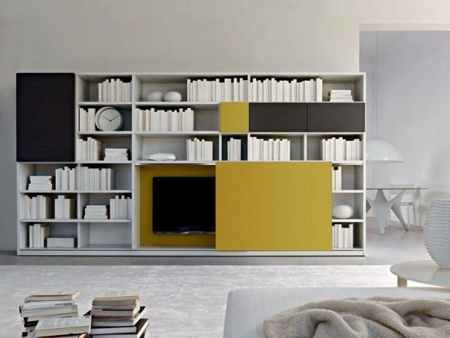 meuble tv avec bibliothèque et panneau coulissant Ed par Molteni C