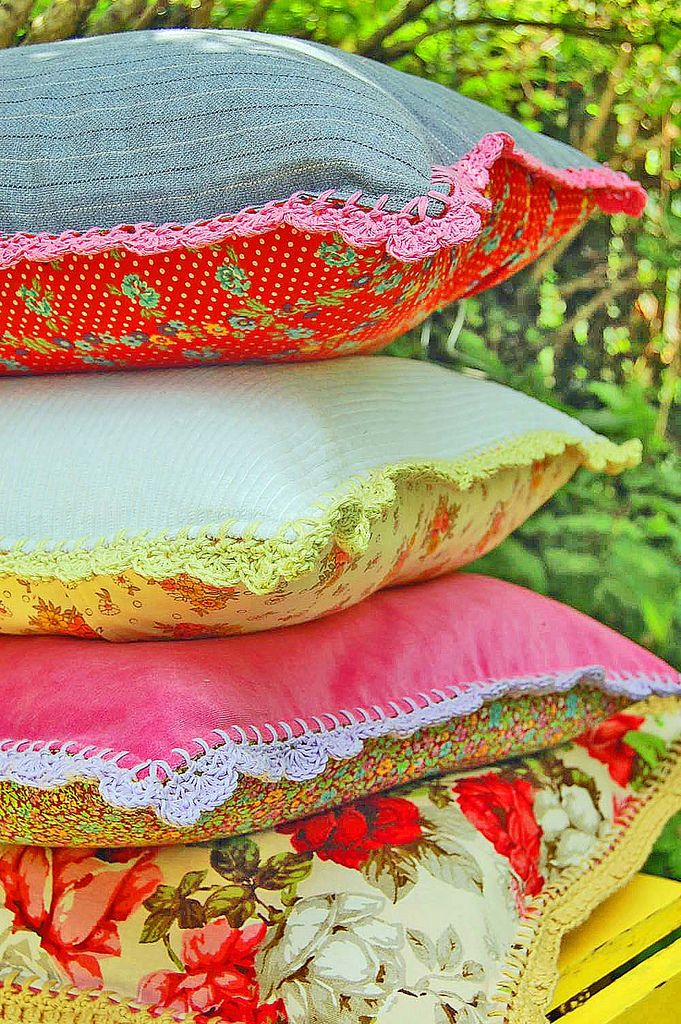crochet-trimmed pillow