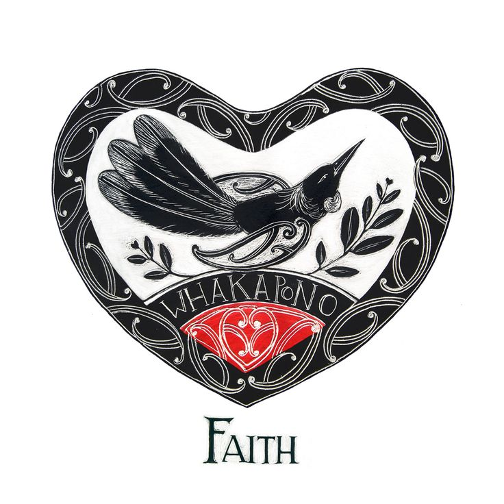 Tui bird, sometimes known as the Parson bird is appropriately depicted above the Maori word for 'Faith...Whakapono. By Amber Smith. www.imagevault.co.nz