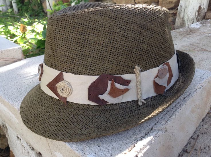 Summer hats Light brown on beige leather strap gamzegedesignstudio.com