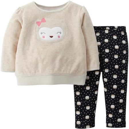 Child Of Mine by Carter's Newborn Baby Girl Fleece Top and Pants Outfit Set - Walmart.com