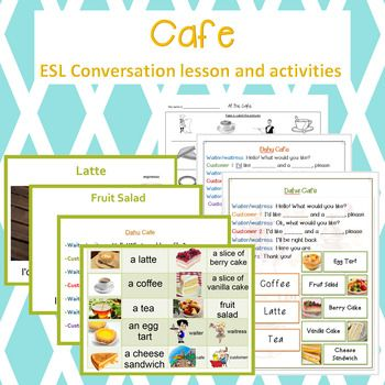 ESL Cafe conversation class! All you need to recreate a cafe and improve speaking skills for ESL learners.