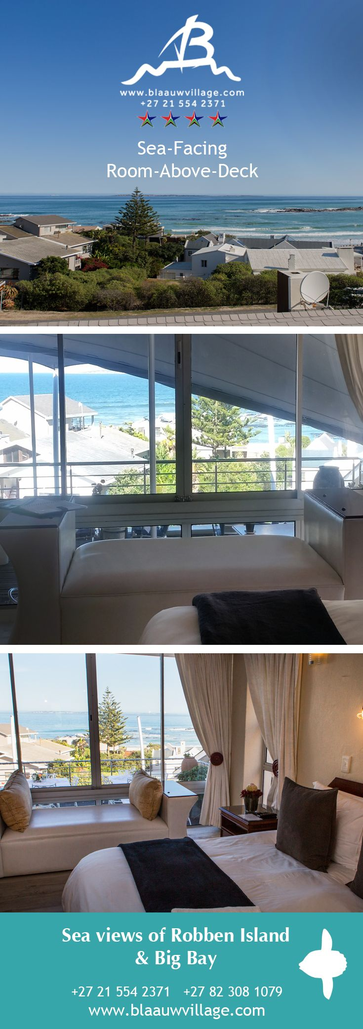 If the world is your oyster, this room will present you with all that you may desire, full views over Big Bay and Small Bay. During the summer months sails are drawn over the lower section to provide shade from the hot African sun. Allowing for partial sea views during the summer time  Let's hear from you! +27 21 554 2371 +27 82 308 1079