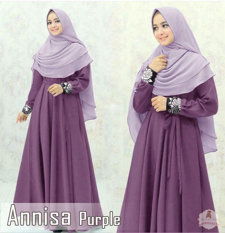 annisa purple Rp140, bahan maxmara spandek, tali pinggang ,bergo no pad, ld 110 smp 120 pjg 140 lb 300 berat 900gram