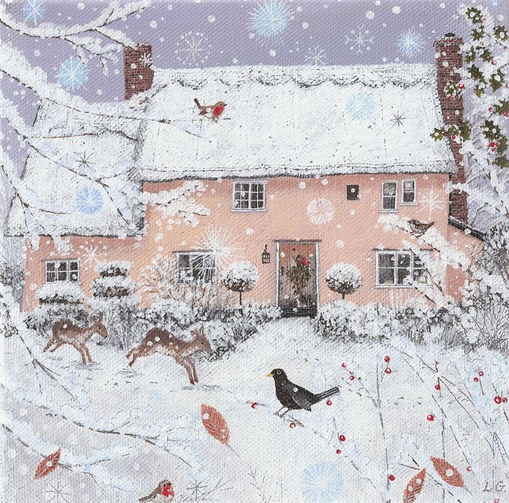 Rose Cottage in Winter - Lucy Grossmith