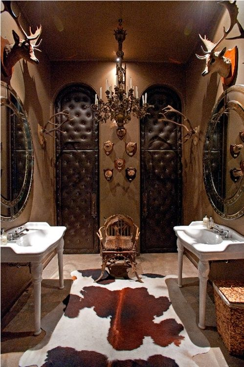 I Donu0027t Like Taxidermy In Humid Areas, But This Would Make A Lovely.  Restroom DesignRestroom IdeasMan Cave BathroomVanity BathroomSafari ... Part 88