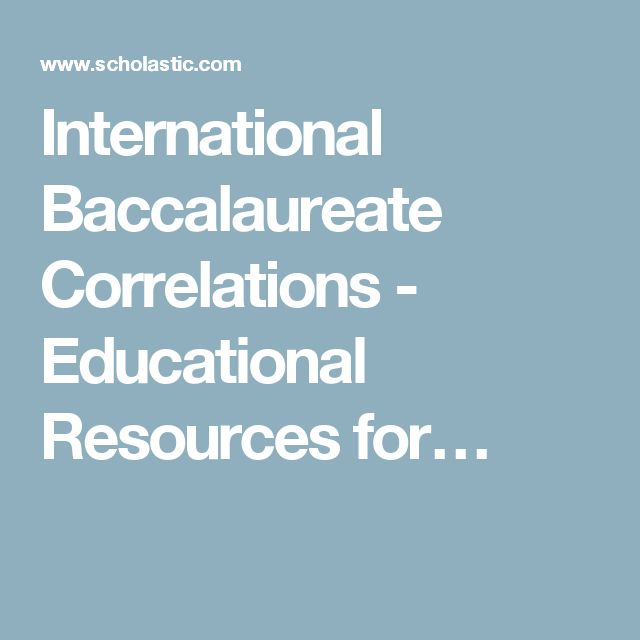 International Baccalaureate Correlations - Educational Resources for…
