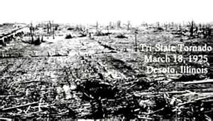 """the great tri state tornado the most devastating and powerful tornado in american history Find a list of the most deadly and intense tornadoes in the us with casualty   1925: march 18, mo, ill, ind: the """"tri-state tornado"""" was the most violent single  twister in us history  1965: april 11-12, midwest-great lakes region:  tornadoes in iowa, ill, ind,  this is also the deadliest us tornado outbreak  since 2008."""