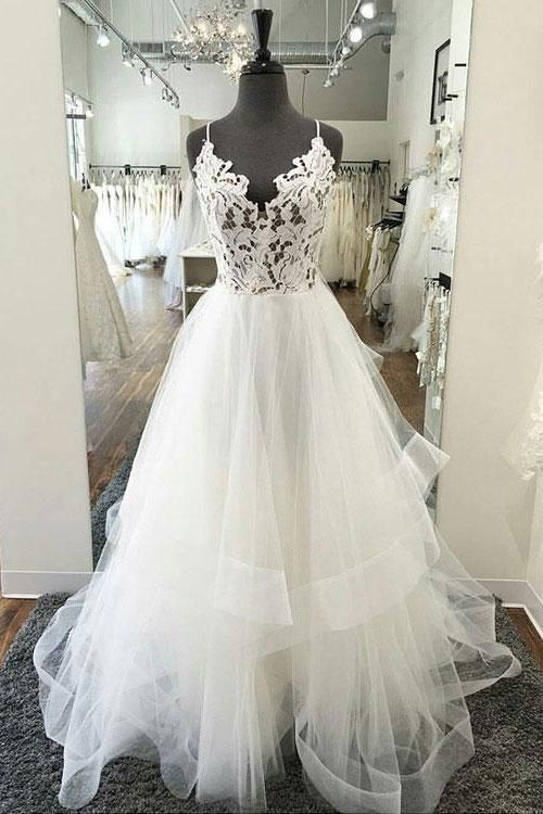 White v neck lace tulle long prom dress 9ba3f9cec