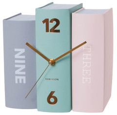 Pastel Book Table Modern Clock by Karlsson | Paper Products Online