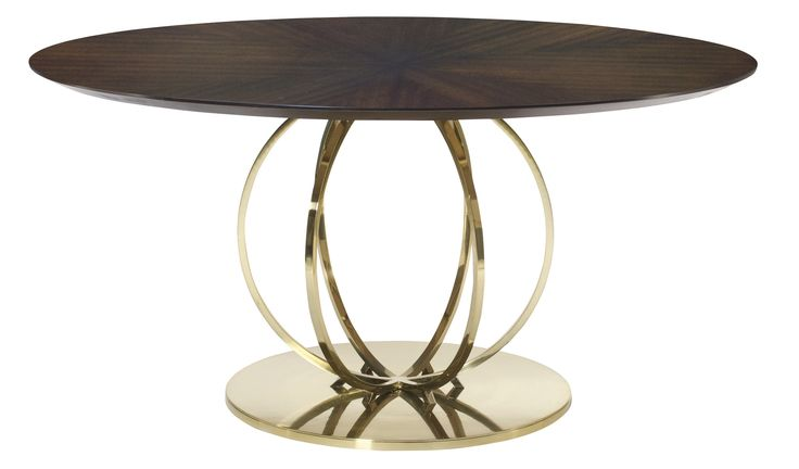 Bernhardt Dining Table - Fancy face op of ribbon stripe sapele veneers, caviar finish. Solid and tubular steel base in brass plated finish.