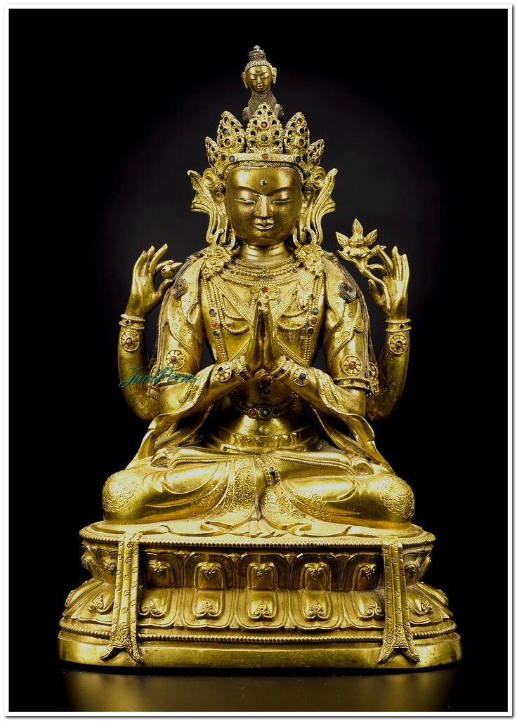 A GILT-BRONZE FIGURE OF A SADAKSARI AVALOKITESHVARA QING DYNASTY, KANGXI PERIOD the figure seated in dhyanasana on a double-lotus base, the principle hands in namaskaramudra, the secondary hands holding a flower and a bhodi bead, the serene face bearing a compassionate expression with eyes cast downwards, the hair neatly drawn up in a chignon under a five-pointed diadem surmounted by the head of Amitabha, the long pendulous ears suspending large earrings, wearing elaborate inlaid beaded…