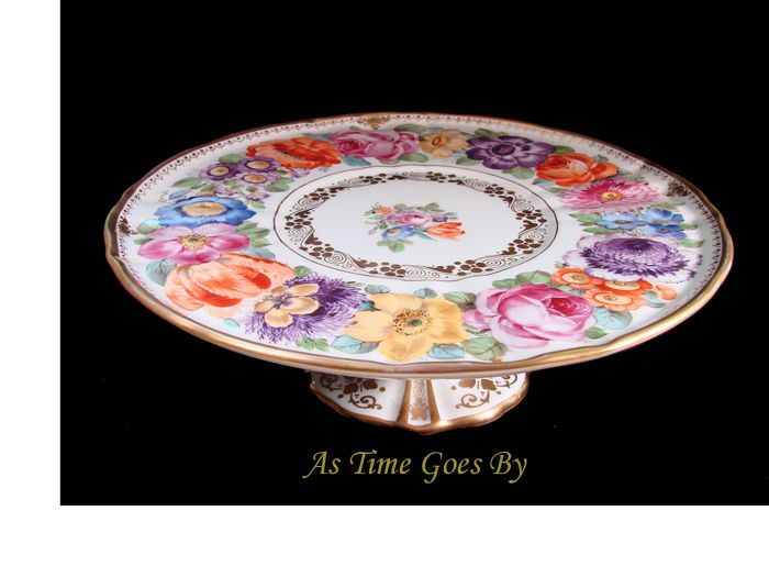Hand Painted Dresden Flower Porcelain Cake Stand - Lamm  sc 1 st  Pinterest & 1059 best Cake Plates and Stands images on Pinterest | Cake plates ...