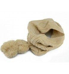 Lækker beige hue / tørklæde i strik med mønster - Billig - HWN-609