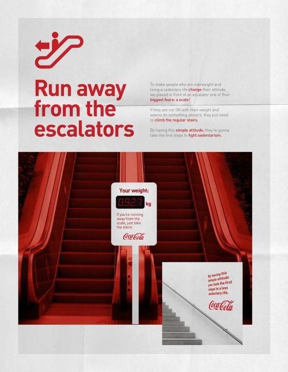 Coca-Cola: Run Away from the escalators - Je eigen posters laat je drukken bij Drukzo http://www.drukzo.nl/posters/a2-posters-drukken.html#category