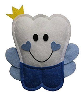Tooth Fairy Pillow - Boys Blue and White - Adorable Crown