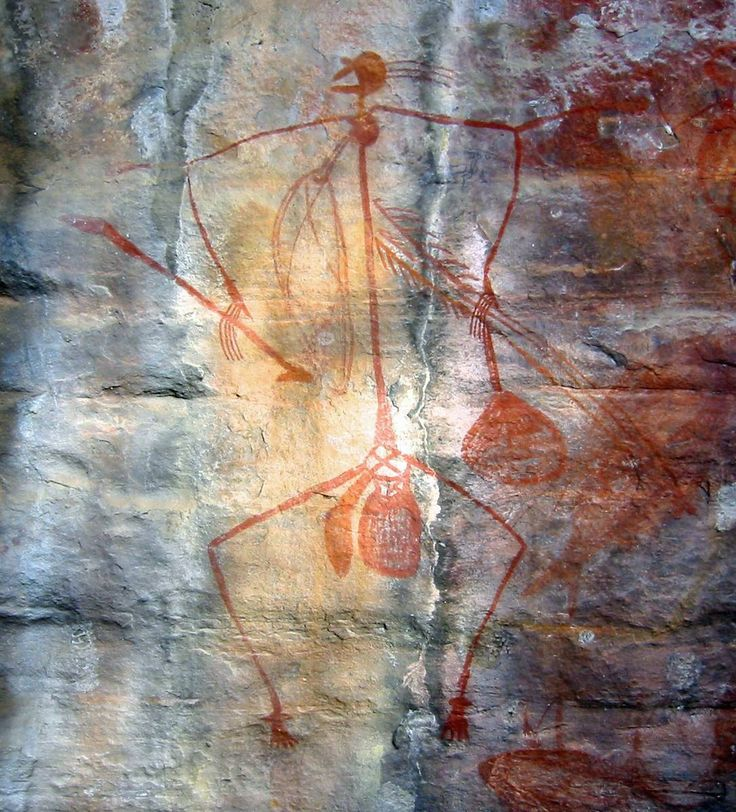 This is a wall painting founded in Kakadu National Park in Australia. Art like this can be traced back over 30,000 years.