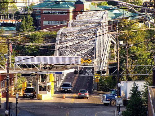This is the bridge border crossing from Madawaska, Maine to Edmundston, New Brunswick, Canada. There is no hospital in Madawaska, Maine, so many children are born in Canada at the Edmundston hospital.